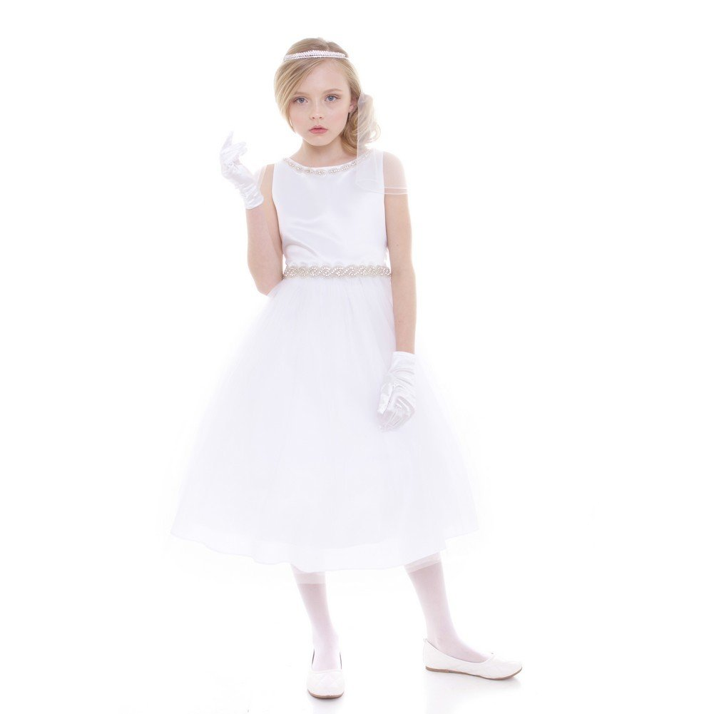 32201ab5e62 Amazon.com: Petite Adele Big Girls White Rhinestone Neckline Belt Flower  Girl Dress 8-20: Clothing