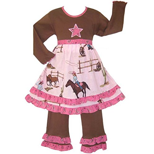 AnnLoren Little Girls Pink Boutique Cowgirl Horses Dress Pants Outfit (Little Cowgirl Outfits)