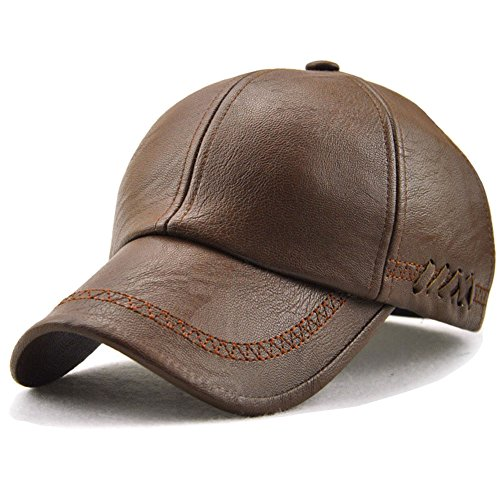 YOYEAH Classic Plain Adjustable Leather Baseball Cap Sports Outdoor Panel Hat For Men Women Light Brown-1 (Ladies Leather Hats)