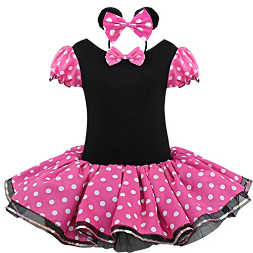 TiaoBug Girls Halloween Polka Dots Party Costume Dress Tutu Skirt with Headband (4T, Hot Pink) (Halloween Costume For One Year Old)