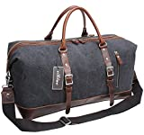 Iblue Genuine Leather Trim Travel Tote Duffel Garment Gym Shoulder Handbag Canvas Overnight Weekender Bag Large#B003(Xl 21'', Grey)