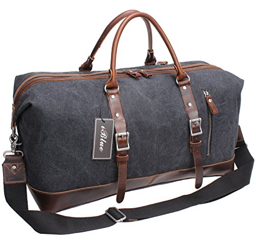 Iblue Genuine Leather Trim Travel Tote Duffel Garment Gym Sh