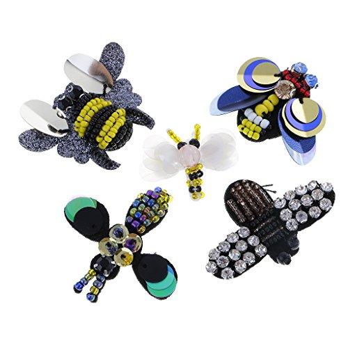 Dovewill Apliques de Costura de Rhinestone de Bordado Arte de Bircolaje Adorno para Ropa Bolsos Zapatos - 5 Piezas Abejas,...