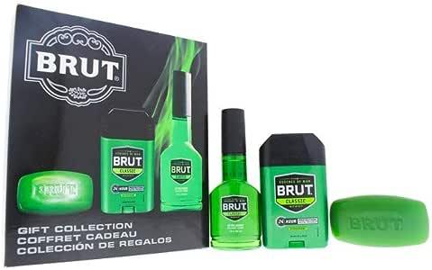 Faberge Co. Brut - 3 Pc Gift Set 3.0oz After Shave Cologne Spray, 2.25oz Deodrant Stick, 3.0oz Bar Soap