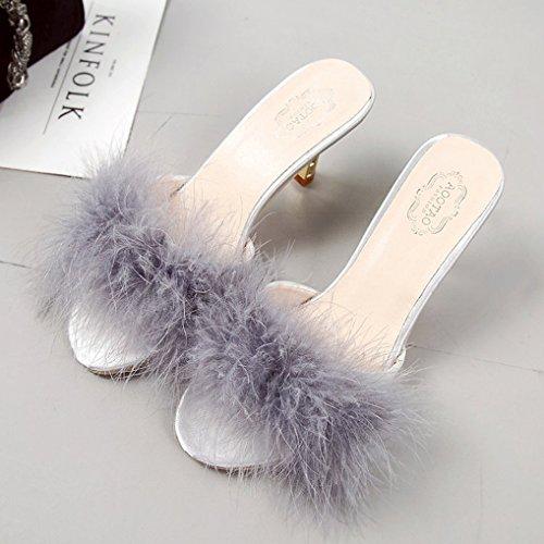 Heels Fuzzy Kitten Plush FreLO Women's Slippers Slippers Grey Flurry PwqP7