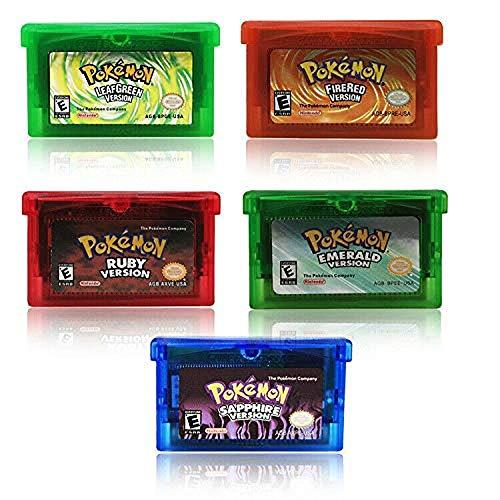 GBA Game Card Sapphire/Emerald/FireRed/LeafGreen/Ruby POKEMON Pocket Monster Pocket Monster (5PCS) (Pokemon Gameboy Games)