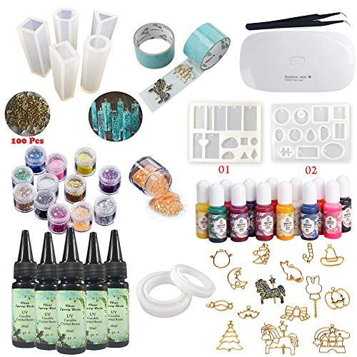 - 5 Pieces 30ML Crystal Epoxy Resin 17 Metal Jewelry with Tape,9Pcs Transparant Silicone Mould With 100 Rings, 13 Color Liquid Pigment 12 Glitter Sequins With Lamp For DIY Jewelry Earrings Necklace