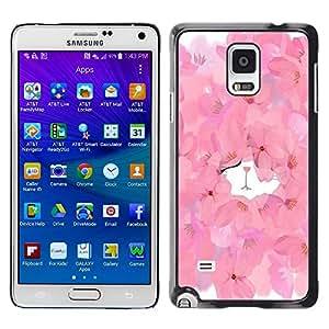 LECELL--Funda protectora / Cubierta / Piel For Samsung Galaxy Note 4 SM-N910 -- Floral Spring Kitten Cute Watercolor --