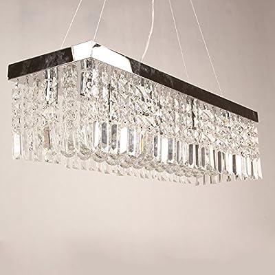 LightInTheBox Elegant Clear K9 Crystal Chandelier Dining Room Light Fixtures Polished Chrome Finish Modern Rectangle Living Room Pendent Light Lamp