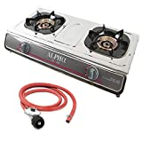 Gas One Propane Gas Range Stove with Propane Regulator - 2 Burner Stainless Steel Cooktop Auto Ignition