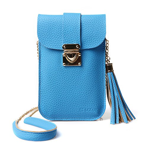 Cell Phone Bag, LKZAIY PU Leather Small Crossbody Bag with Detachable Chain Shoulder Strap Clear Purse Wallet for Women ()