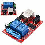 WILLAI DC5V 2-Way Ethernet Module Delay Relay Network Switch TCP/UDP Controller WEB Server 70 x 50mm