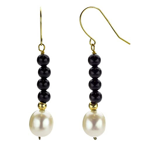 14k Yellow Gold 4mm Simulated Black Onyx with 8-8.5mm White Freshwater Cultured Pearl Hoop Earrings