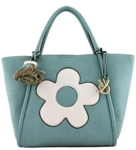 Amy&joey 2 In 1 Flower Patch Handbag Bag In Bag (turquoise) Aj-130