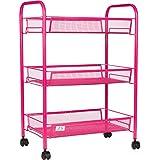 3 Tier Utility Cart, Kitchen Storage with Rolling Wheels, Metal Mesh Wire Basket Trolley, Pink