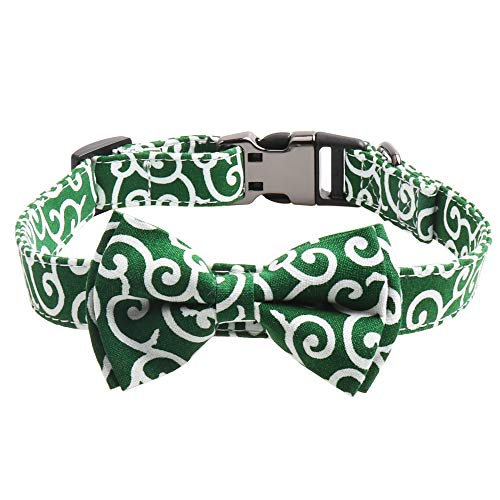 Gyapet Dog Collar for Pet AdjustableBreakaway with Bowtie Cute Vintage Stylish Blue Fluted Cool Green -