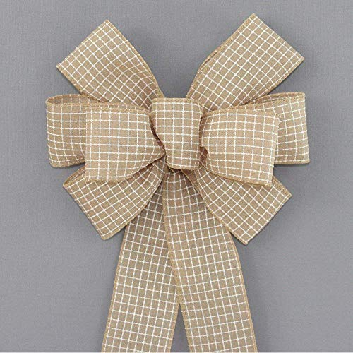 Natural Dash Stitched Check Rustic Wreath Bow in 2 Size Options