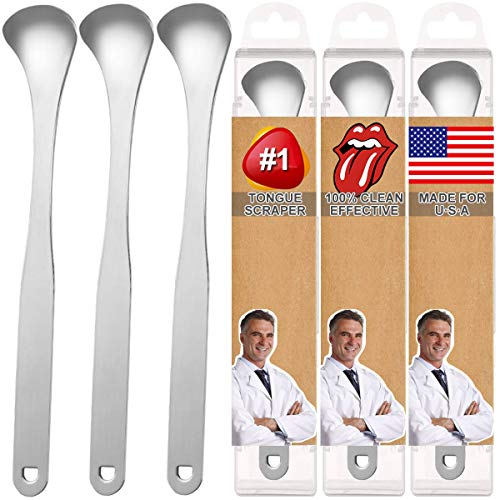Tongue Scraper, Tongue Cleaner 3 Pack 100% Useful Surgical Stainless Steel Tongue Scraper for Family, Adults, Kids - Refresh Breath, Enjoy Better Living - with 3 Pack Travel Carrying Case