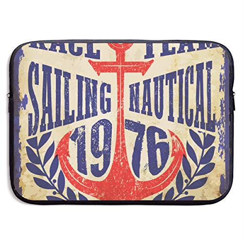 Yachting Club Grunge Artwork for Sportswear 13-15 Inch Laptop Sleeve Bag Portable Dual Zipper Case Cover Pouch Holder Pocket Tablet Bag,Water Resistant,Black