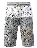 URBANCREWS Mens Hipster Hip Hop Splatter Bulls Print Shorts Pants Hgray XLarge