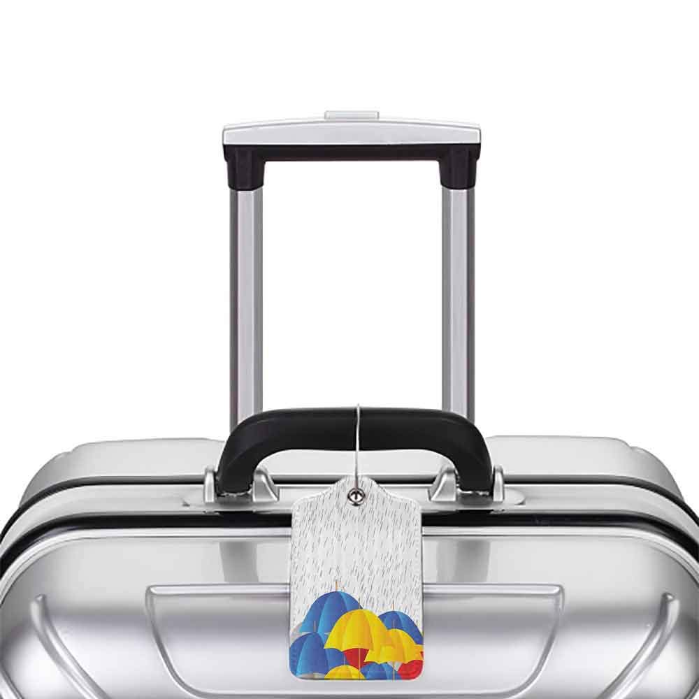Flexible luggage tag Modern Cartoon Image with Raindrops Colorful Umbrellas Animation like Art Print Fashion match Yellow Blue White Red W2.7 x L4.6