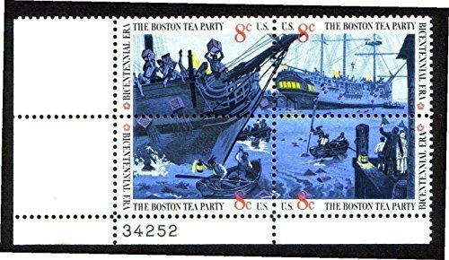 1973 Boston Tea Party #1483a Plate Block of 4 x 8¢ US Postage Stamps from S.T.A.M.P.S