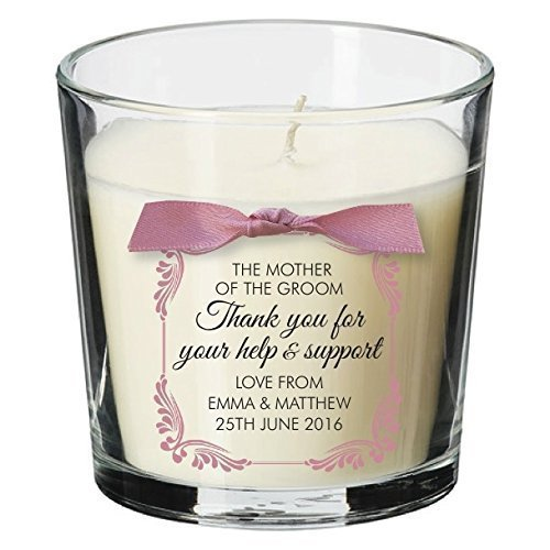 mother of the bride present personalised candle wedding thank you