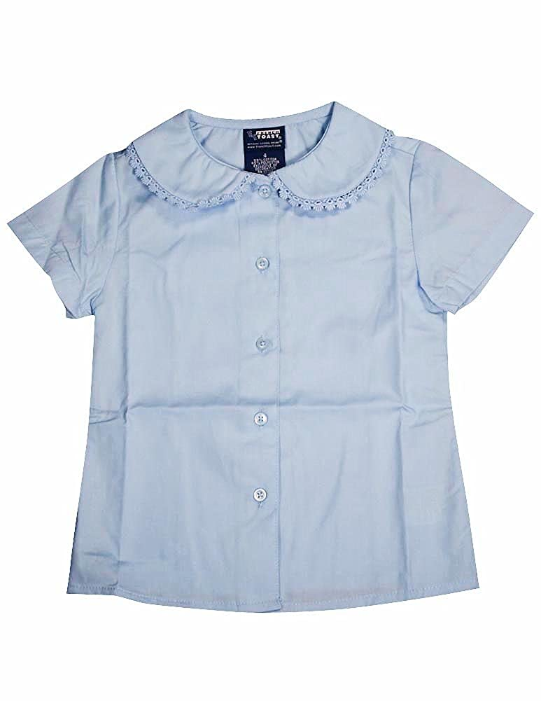 French Toast - Little Girls' Short Sleeve Peter Pan Lace Trim Blouse
