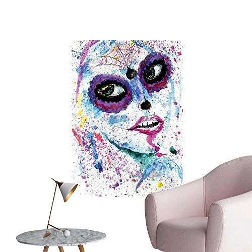 Wall Painting Halloween Lady with Sugar Skull Make Up Creepy Dead Face Gothic Woman High-Definition Design,32