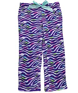 "Sleep On It Big Girls' ""Zebra Splash"" Plush Pajama Pants"