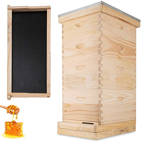 Happybuy Langstroth Bee Hive 4 Layer Langstroth Box 20 Frame Beehive...