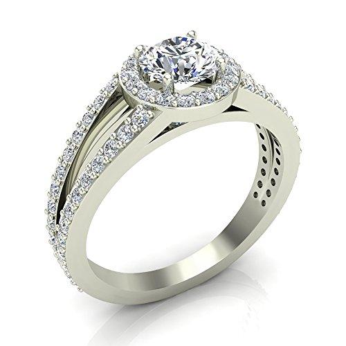 1.40 ct tw Round Brilliant Split Shank Halo Engagement Ring 14K Gold (J,I1)