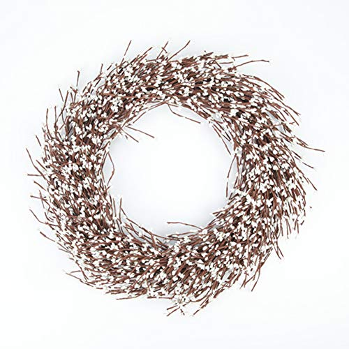 White Berry Wreath, Full Pip Garland Enhances Front Door Decor Welcoming decoration-20 inches ()