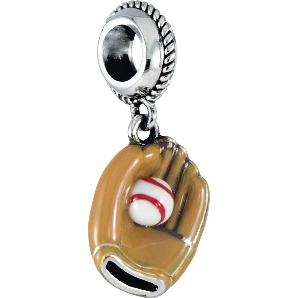FB Jewels 925 Sterling Silver 12.5x10mm Kera/Â Baseball Glove Charm