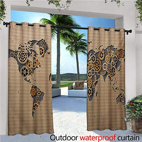 Modern Outdoor- Free Standing Outdoor Privacy Curtain Ancient Old Hipster Contemporary Image of World Map with Clock Wheel Art Print for Front Porch Covered Patio Gazebo Dock Beach Home W96 x L108