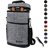 Insulated 2 Bottle Wine Carrier | Wine Tote Bag with Shoulder Strap, Padded Protection, Corkscrew Opener | Portable Wine Cooler Carrying Bag for Travel Picnic - Heather Grey