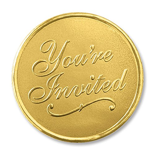 Embossed You're Invited Round Smooth Edge Gold Foil Envelope Seals, 1 3/8 Inch, 48 Count