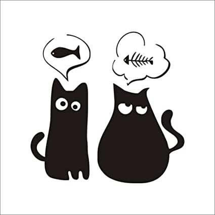 Ruikey Caricatura lindo gatito gato etiqueta de la pared Vinilo decorativo pegatina pared Fashion Design DIY