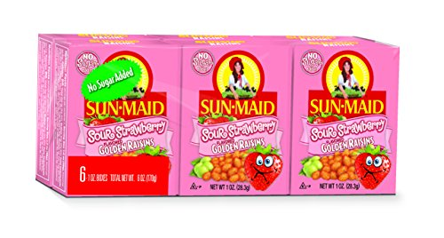 Maid Sun Raisins (Sun-Maid Sour Strawberry Golden Raisins, 6 pk, Net Wt 6 oz)