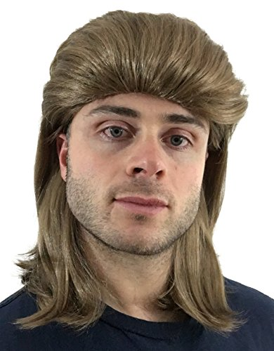 Lady Hillbilly Costume (Hilarious Flowtop Mullet Wig: Hillbilly Redneck Costume, Halloween 80s Wig, Men's Women's or Kid's Mullet Wig (Brown))