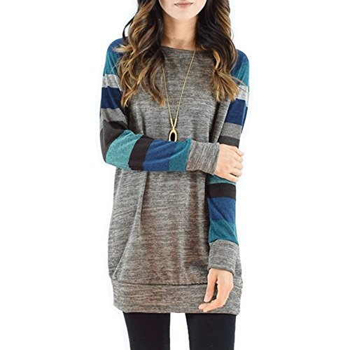 Fantastic Zone Women's Cotton Knitted Long Sleeve Lightweight Tunic Sweatshirt Tops for Women Navy Blue