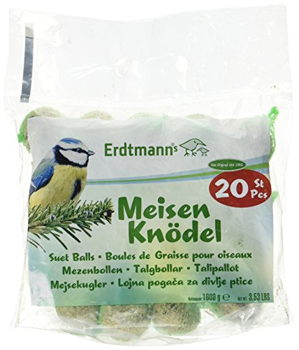 Erdtmanns Suet Balls Singly Packed in Green Nets and in a Polybag Pet Treat, 14 by 12.5 by 2-Inch, 20-Pack by Erdtmanns