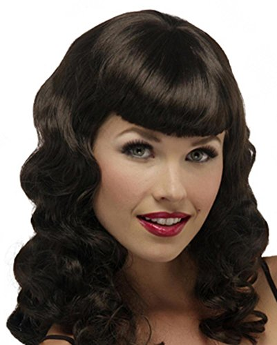 Pinup Glamour Girl Bettie Page Cosplay Costume Wig Fun Pin Up by Jon Renau Wigs - Chocolate (Souffle Girl Costume)