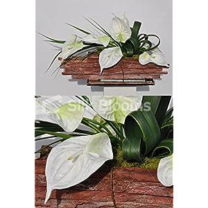 Modern Artificial Fresh Touch White Anthurium Floral Table Arrangement 38