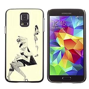 """For Samsung Galaxy S5 Case , Bosquejo de la moda Outfit Diseño Negro Blanco"""" - Diseño Patrón Teléfono Caso Cubierta Case Bumper Duro Protección Case Cover Funda"""