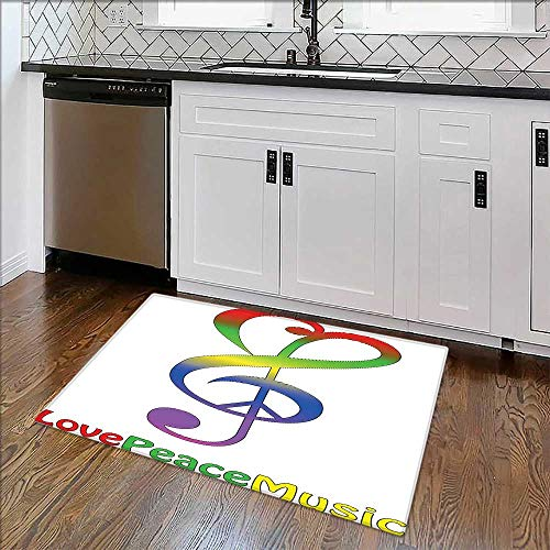 Easy to Store Rug Collection Love Peace and Music Clef Musical Notes Bass Old Sign Slogan Live Soft, Non-Slip