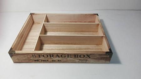 Porta Cubiertos de madera con impresión – 30 x 24 x 4,5h cm: Amazon.es: Hogar