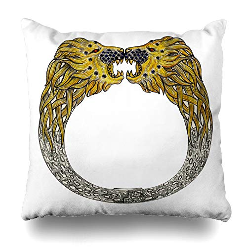 (Ahawoso Throw Pillow Cover Jewelry Silver Garnet Lion Bangle Hand Drawing Create Watercolor Gemstone Gold Head Show Design Home Decor Cushion Case Square Size 16