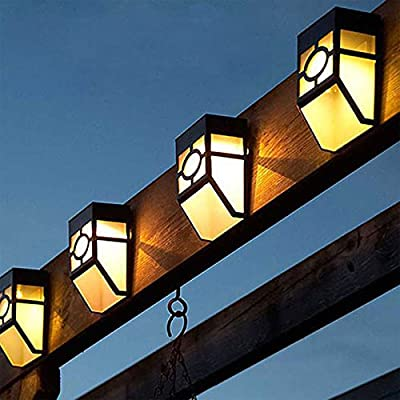 Commart 5X Solar Powered Wall Mount LED Light Outdoor Garden Path Landscape Fence Yard Lamp (LED Color White)
