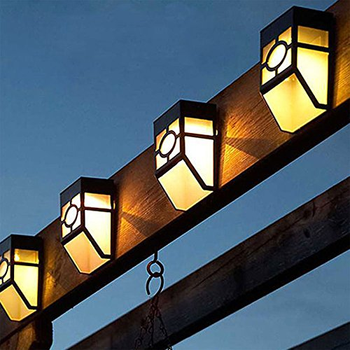 Commart 5X Solar Powered Wall Mount LED Light Outdoor Garden Path Landscape Fence Yard Lamp (LED Color Warm White)